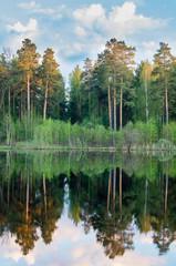 вечернее озеро с отражением леса в воде, Россия, Урал