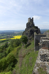 Spring Landscape in Bohemian Paradise with Castle Trosky