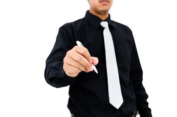 Businessman writing action on white background
