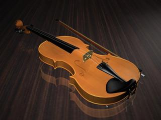 Violin isolated on wood floor