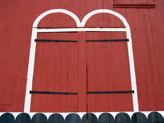Red Doors of  Quaint Old Red Barn in Pennsylvania