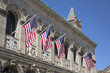 US flags outside Boston Public Library in Boston Massachusetts