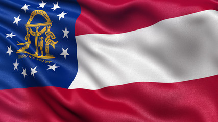 US state flag of Georgia waving in the wind