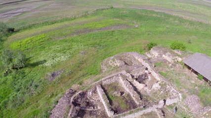 Ruins of the ancient city of Halmyris, aerial perspective