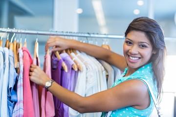 Beautiful brunette doing shopping