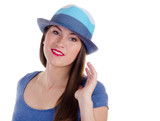 young woman with blue hat isolated on white background
