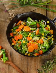 vegetables in  iron skillet