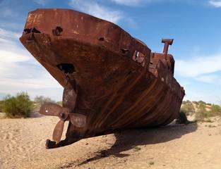 Boats in desert around Moynaq - Aral sea