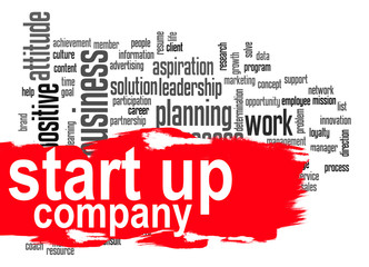 Start up company word cloud with red banner