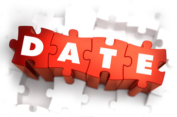 Date - White Word on Red Puzzles.