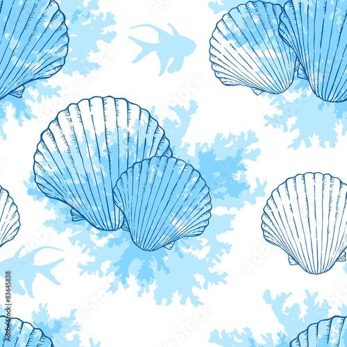 Blue marine seamless pattern