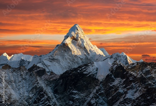 Ama Dablam on the way to Everest Base Camp Poster