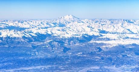Aerial view of Caucasus mountains and Mount Elbrus