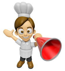 3D Chef Man Mascot is speakn over a loudspeaker. Work and Job Ch