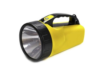 Flashlight LED, yellow, isolated on white background