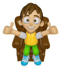 3D Child Mascot is sitting on a chair assume the gesture of the