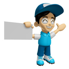 3D Delivery Service Man Mascot the right hand guides and the lef