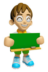 3D Child Mascot holding a big board with both Green chalkboard.
