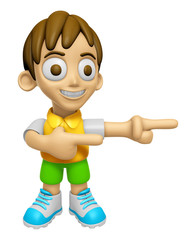 3D Child Mascot is points a finger one direction. Work and Job C