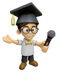 3D Scholar Man Mascot the hand is holding a Microphone. Work and
