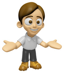 3D Man Mascot the direction of pointing with both hands. Work an