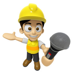 3D Construction Worker Man Mascot the hand is holding a Mic. Wor