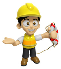 3D Construction Worker Man Mascot the hand is holding a Lifebelt
