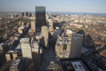 Boston's panoramic view as it is seen from Prudential tower