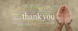 Fototapety Fund Raising Campaign Website Header saying Thank You