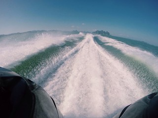 wave trace at sea after speedboat
