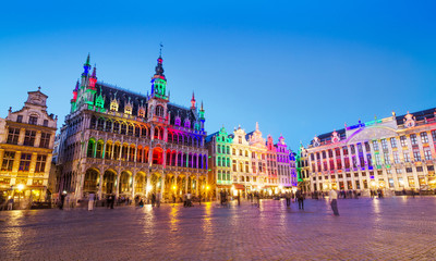 Grand Place in Brussels with colorful lighting
