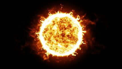 Sun with Solar protuberances and explosions. HD 1080. Looped.
