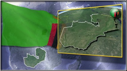 Zambia flag and map animation