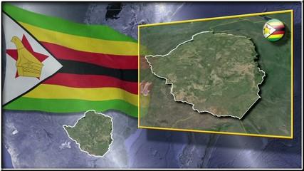 Zimbabwe flag and map animation