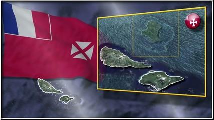 Wallis & Futuna flag and map animation
