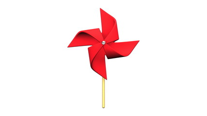 Loopable Red Pinwheel On White Background