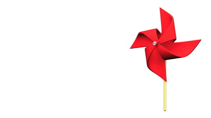 Loopable Red Pinwheel On White Text Space