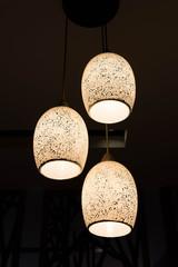 Lighting lamp with bulbs in home,three bulbs