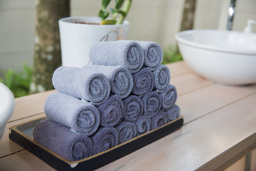 stack of rolled towel