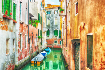 HDR - Narrow canal in Venice, Italy.