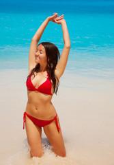 Beautiful woman, happy summer day