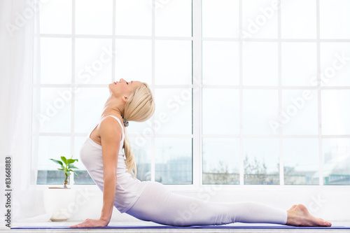 Yoga concept with young woman плакат