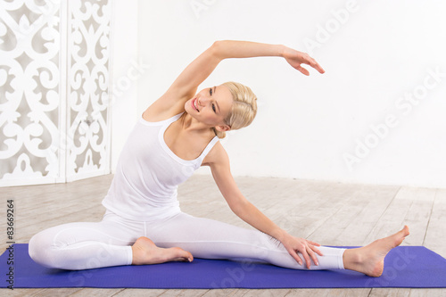 Vászonkép Fitness concept with young sporty woman