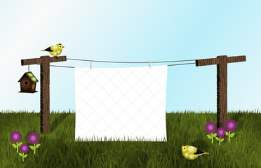 Goldfinches, Birdhouse and White Quilt on Clothesline