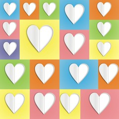 paper hearts on colour background