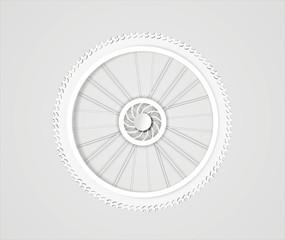 illustration of bike wheel from white paper