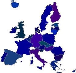 Europaumriss Blautöne