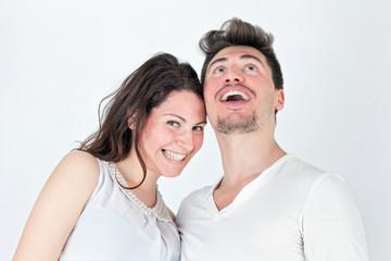 Loving couple ironic smile