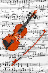 Toy violin and music sheet