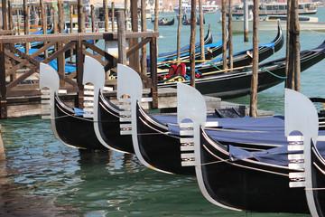 Gondolas lined up in Venice